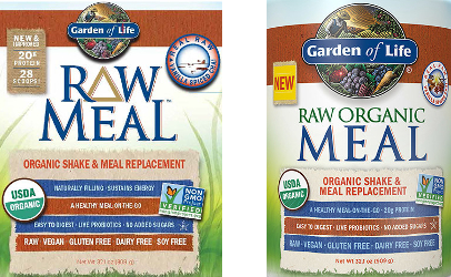 "Garden of Life provided the label sample on the left to the FDA for posting with its recall notice. As the outbreak linked via DNA to its ""Organic Raw Meal"" powders spread across the country, the company redesigned its labels and changed the word order in the product name to ""Raw Organic Meal"" as shown on the right."