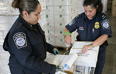 CBP Officers search products coming into the U.S. as Cargo.