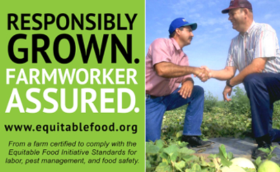 This green label can only be used on produce from suppliers who are certified by the Equitable Food Initiative, which works to improve the safety of fresh product while ensuring farmworkers' are in the loop as well as on the front lines in the war against pathogens.