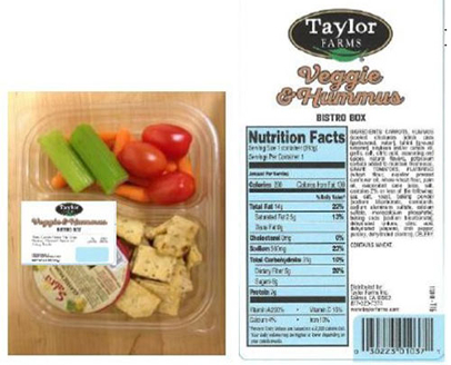 recalled Taylor Farms hummus snack tray