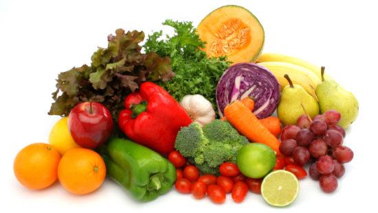 mixed fresh fruits vegetables produce