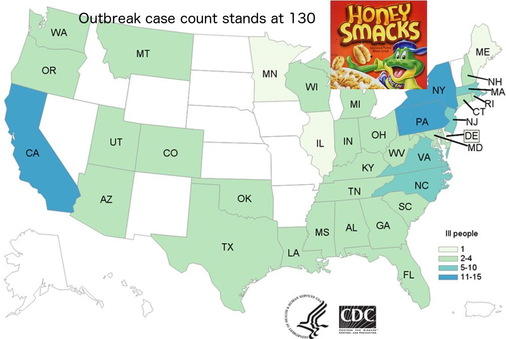 map Honey Smacks Salmonella outbreak