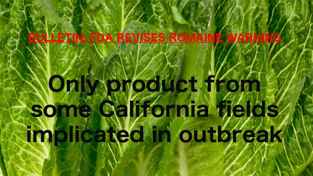 FDA romaine warning revised