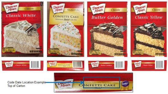 recalled Duncan Hines cake mix