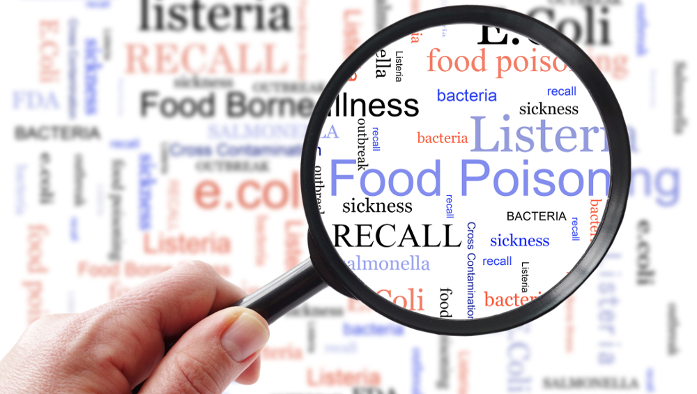 illustration food poisoning word cloud magnifying glass