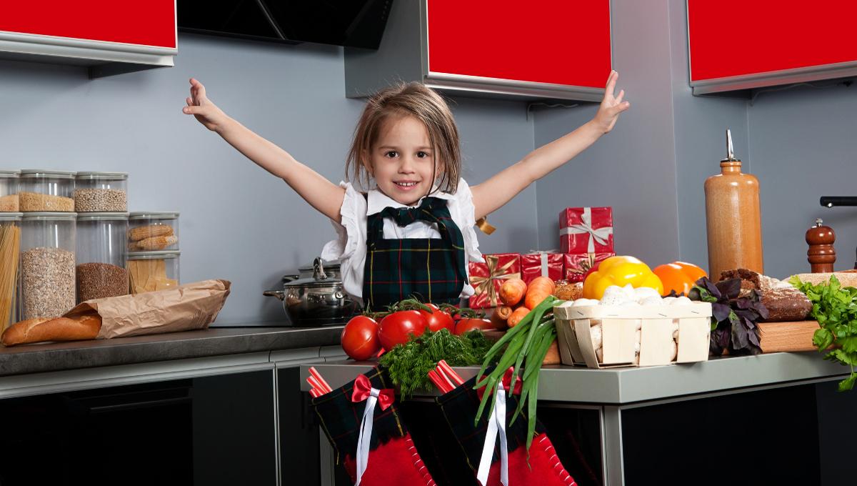 girl Christmas kitchen cooking