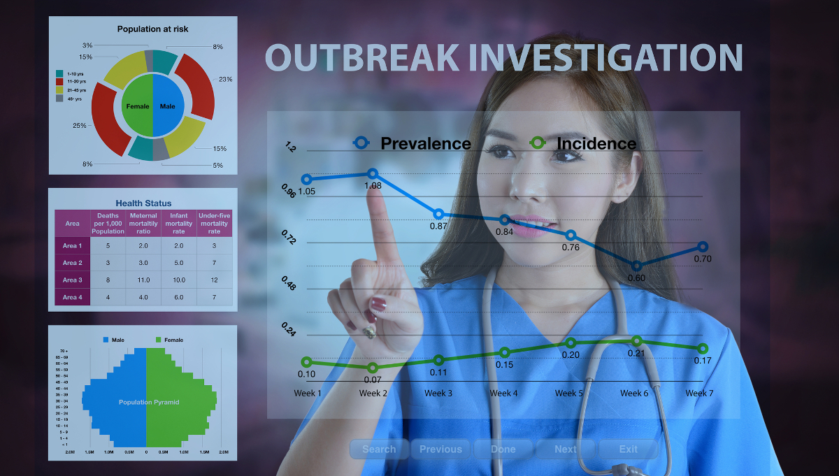 Female doctor working on data analysis for outbreak investigation.