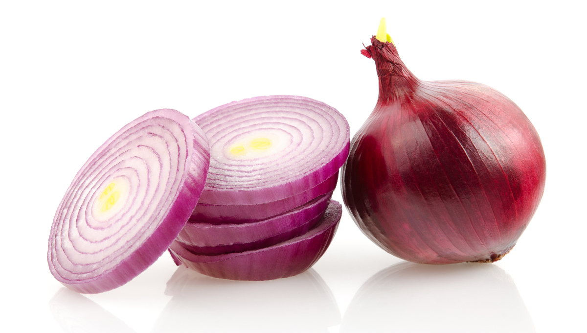 Red Onion and Slices Isolated on White Background