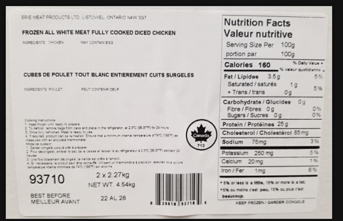 recall CFIA cooked frozen chicken